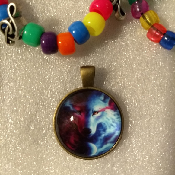 X-Rave Products Jewelry - RED BLUE WOLF - Necklace Pendant chakra fashion